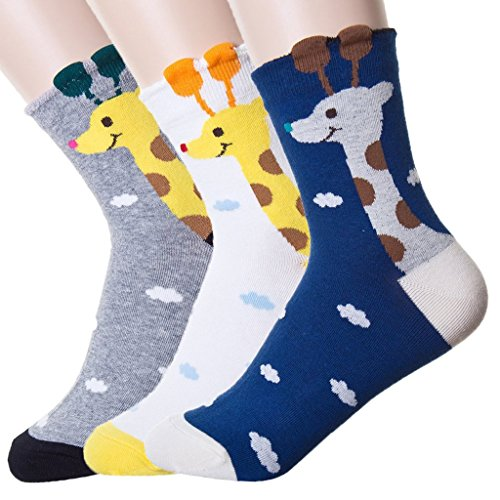 DearMy Womens Cute Design Casual Cotton Crew Socks | Good for Gift Idea| One Size Fits All | Gifts for Women (Giraffe 3 Pairs) ()