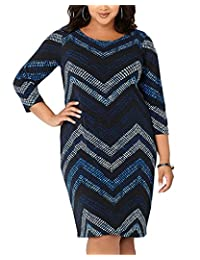 CACNCUT Plus Size Dress For Women Printed Office Bodycon Bandage Dresses