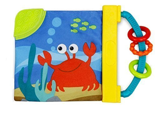 Agooding Non-toxic Colorful Cloth Baby Book with Teether, Safe Mirror & Ring Paper (Sea Animals)