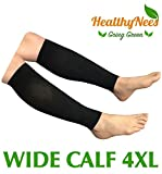 HealthyNees Shin Calf Sleeve 20-30 mmHg Medical Compression Circulation Extra Wide Plus Size Big Tall Leg Thick Calves Firm Support (Black, Wide Calf 4XL)