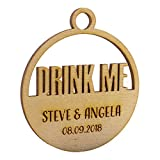 Summer-Ray 50 Wooden Laser Round Drink Me Alice in The Wonderland Liquor Bottle Label Wedding Party Favor Tags