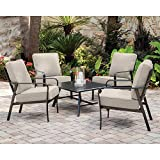 Hanover CORT5PCCT-ASH Cortino 5-Piece Grade Patio Seating Set Commercial Outdoor Furniture, Cast Ash/Gunmetal