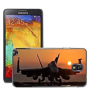 Cas Coq Case Cover // M00421432 Militar Jet Sunset Silhouette // Samsung Galaxy Note 3 III N9000 N9002 N9005