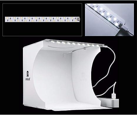 Linghuang Mini Anillo Lightbox Caja de Estudio fotográfica portátil Plegable Caja de luz de fotografía Softbox Kit de Caja de Tienda de Tiro de Estudio con 6 Fondos: Amazon.es: Electrónica