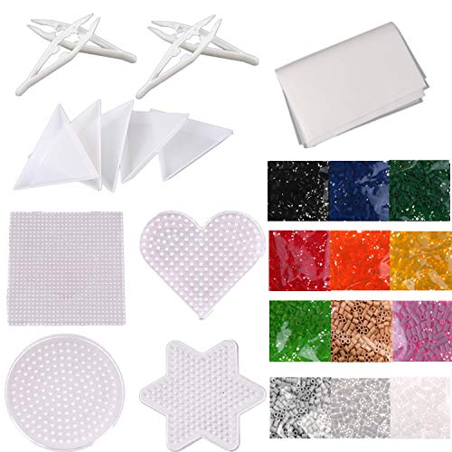 (AOWA 2.6mm Square Round Star Heart Pegboard Bead Board Art Craft Toy Kit, Including 4pcs Different Shape Clear Board, Fuse Beads, Bead Trays, Tweezers and Ironing)