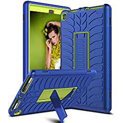 Venoro Case for Amazon Fire HD 8 Tablet, Kickstand Feature Shockproof Heavy Duty Hybrid Three Layer Armor Defender Protective Case Cover for Fire HD 8 Tablet (7th Generation) (Navy Blue/Lemon Yellow)