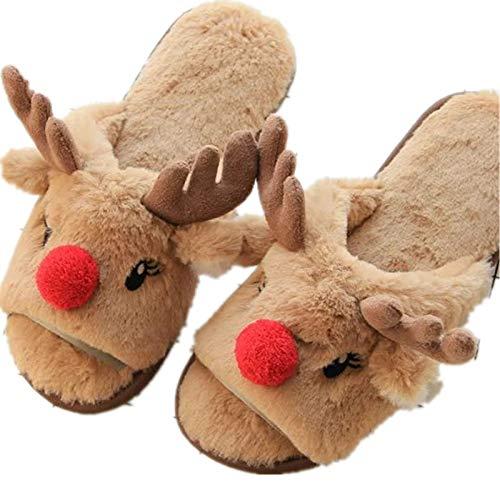 En Pantoufles Et Green 38 Koala D'élan Alte Confortable b Ouvertes 39 Nettoyage Home Noël Sol Peluche Bunny Chaud De Chaussons A AdvxqwX0