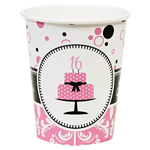 Sweet 16 Teen Girl Birthday Party Supplies - 9 oz. Paper Cups (8) -