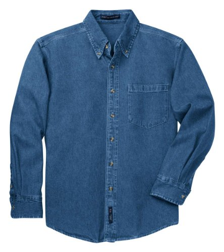 Stonewashed Denim Shirt - Port Authority Men's Heavyweight Denim Shirt_Dark Blue Stonewashed_XXX-Large