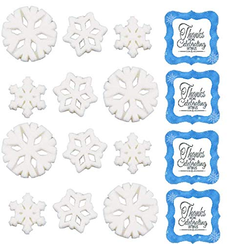 """24pk Snowflake 3/4"""" - 1 1/4"""" Edible Sugar Decoration Toppers for Cakes Cupcakes Cake Pops w. Edible Sparkle Flakes & Snowflakes Decorating Stickers"""