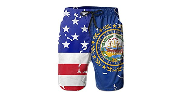 STDKNSK9 Mens USA New Hampshire State Flag Boardshorts Beach Pants