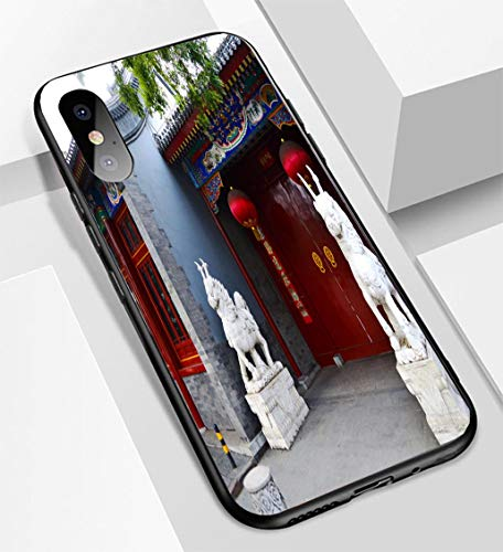iPhone X/XS Ultra-Thin Glass Back Phone case,A Beijing Hutong House Entrance with a Big red gate red Lanterns and Sculpture of Two Stone unicorsoft and Easy to Protect The Protective case - Lantern Sculpture