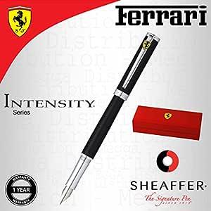 Sheaffer - Ferrari Intensity - Pluma estilográfica, estuche cromado, de acero inoxidable, punta media, color negro satinado, caja de regalo con eslogan de la marca: Amazon.es: Oficina y papelería