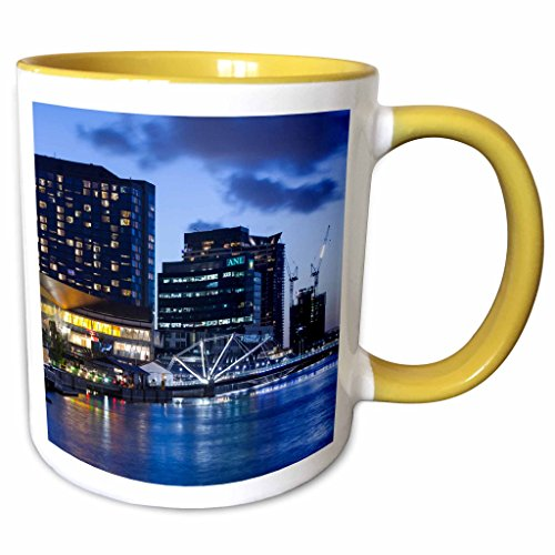 3dRose Danita Delimont - Australia - Australia, Melbourne, South Wharf, Bridge over the Yarra River, dusk - 11oz Two-Tone Yellow Mug - Wharf Melbourne