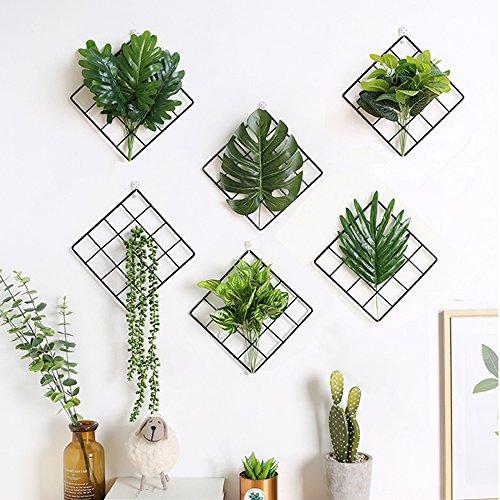 - 3pcs Black Metal Grid Panel Wall Plants Flower Holder Picture Display Desk Bulletin Board Modern Home Decoration