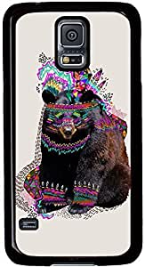 Samsung Galaxy S5 Case Durable Protective Case for Black Cover Skin - Compatible With Samsung Galaxy S5 SV i9600 Bear Paintings