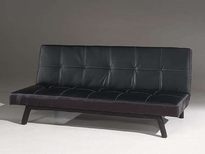 Comforium Sofá sofá Cama de Piel sintética Negra: Amazon.es ...
