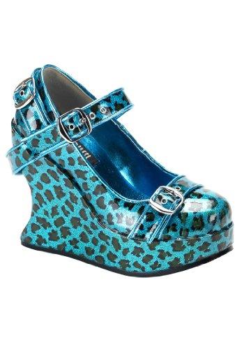 Demonia BRAVO-10 Damen Plateau Wedges Turquoise Pearlized Cheetah Gltr Pat