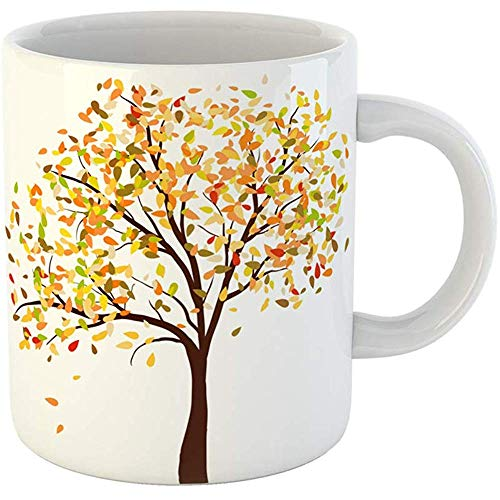 Coffee Tea Mug Gift 11 Ounces Funny White Ceramic Autumn Birch Tree Falling Leaves on Elegant Text Space and Ideal Balanced Gifts For Family Friends Coworkers Boss Mug