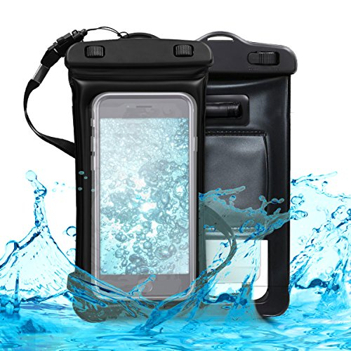 kwmobile Universal Waterproof Phone Holder Case - Outdoor Smartphone Cover Pouch with Armband and Strap in black
