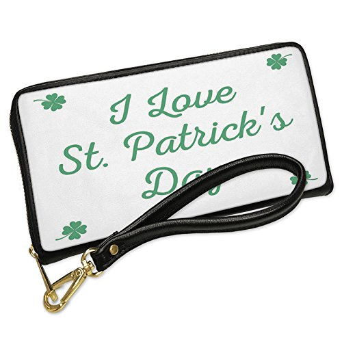 Wallet Clutch I Love St. Patrick's Day St. Patrick's Day Simple Four Leaf Clovers with Removable Wristlet Strap Neonblond by NEONBLOND
