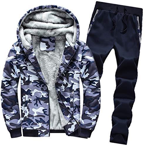 Mens Hoodie Winter Camouflag Warm Fleece Zipper Outwear Coat Top Pants Sets
