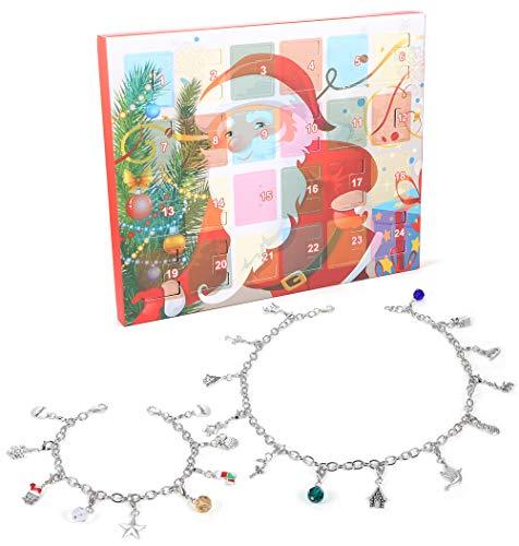[해외]ORAZIO 2019 Christmas Advent Calendar Charm Necklace Bracelet for Women Girls DIY Fashion Jewelry Set / ORAZIO 2019 Christmas Advent Calendar Charm Necklace Bracelet for Women Girls DIY Fashion Jewelry Set