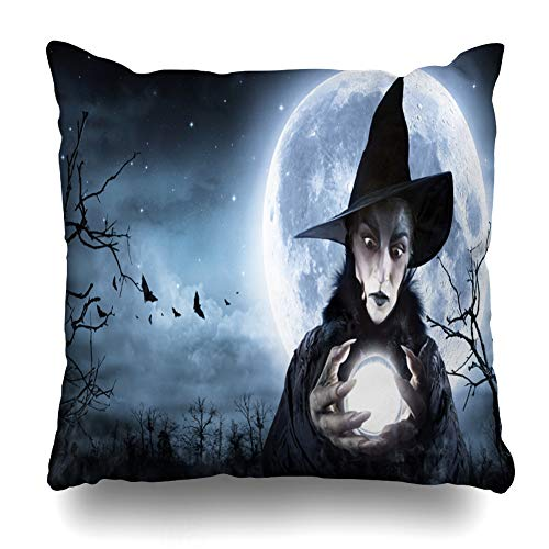 Kutita Decorativepillows Covers 18 x 18 inch Throw Pillow Covers,Halloween Night Moon Ball Black Tree Carnival Dark Pattern Double-Sided Decorative Home Decor Pillowcase