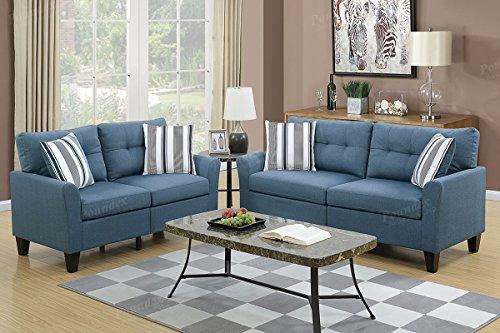 Poundex F6535 PDEX-F6535 Sofas Blue - Room Loveseat Living Ash