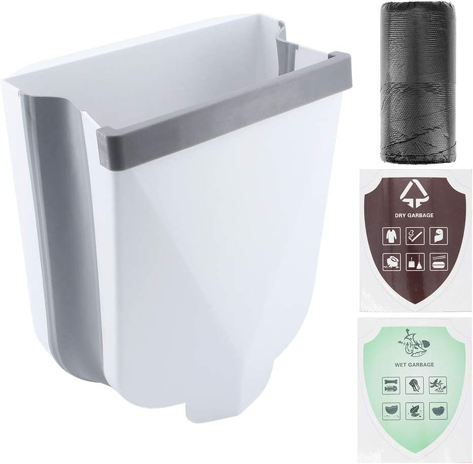 ShawFly Cubo de basura colgante plegable para puerta de armario de cocina, basura creativa, para hogar, jardín, oficina, escuela, cocina, baño, coche