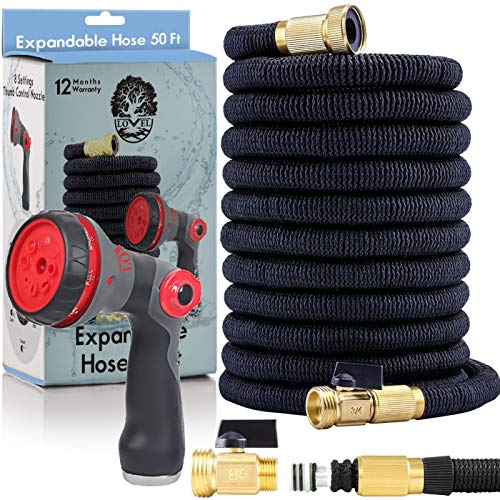 Flexible Garden Hose 50 Ft – Nozzle 8 Settings, 12 Months Warranty, 3/4″ Brass Fittings. Triple Natural Latex Core, Expandable Hose for All Uses. Expands 3X, High Pressure.