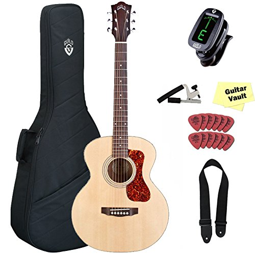 Guild Jumbo Junior Mahogany Acoustic Electric Guitar, with Gig Bag and Accessory Kit
