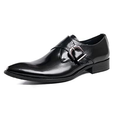 UNbox Mens Formal Loafers Stretch Slip On Leather Tips Modern Dress Shoes