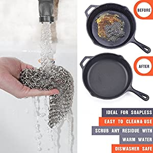 Cast Iron Cleaner - IEFWELL Premium Cast Iron Scrubber,Stain Steel Chainmail Scrubber for Home, Cast Iron Skillet Cleaner for Pre-seasoned Pan Dutch Ovens Waffle Pans