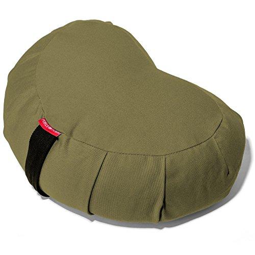 (Peace YogaZafuMeditation Buckwheat Filled Crescent Cotton Bolster Pillow Cushion - Green )