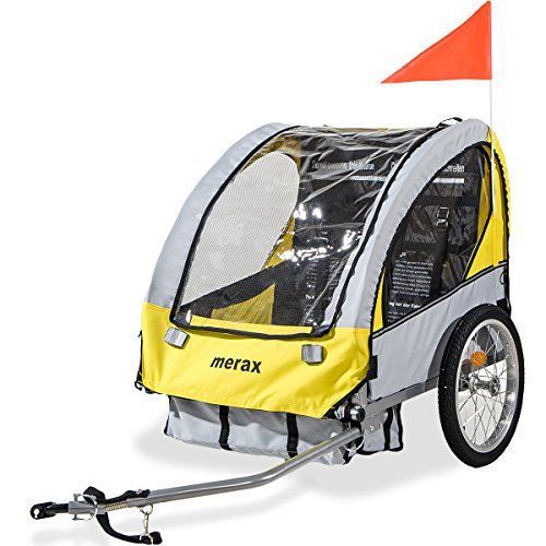 Merax 2-in-1 Collapsible 2-Seater Double Child Bicycle Trailer (Yellow) (Bicycle Kids Trailer)