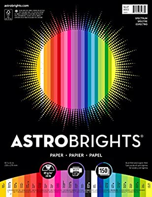 "Astrobrights Color Paper, 8.5"" x 11"", 24 lb/89 gsm, ""Spectrum"" 25-Color Assortment, 150 Sheets (80933-01)"