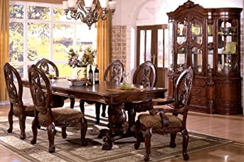 Amazon Com Inland Empire Furniture Tuscany Pedestals Antique Cherry Solid Wood 7 Piece Formal Dining Set With 2 Pedestals Table Chair Sets