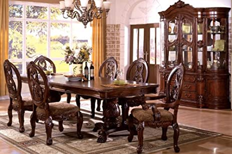 Nice Inland Empire Furniture Tuscany Pedestals Antique Cherry Solid Wood 7 Piece  Formal Dining Set With 2