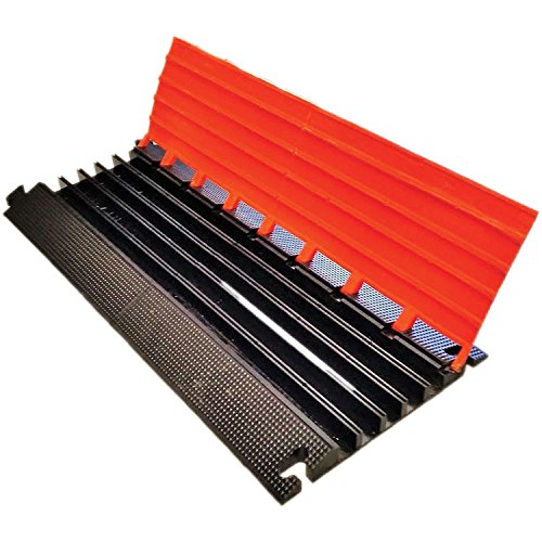 Elasco LG5150B Lite Guard Cable Guard/Management, Light Duty, 5 Channels, 1.38'' Channels, 8250 lb. per Tire Load Capacity, 37.5'' x 16.5'' x 2'', Orange/Black