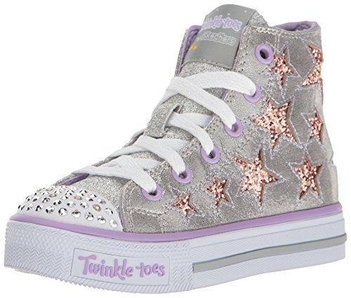 Lavender Girls Shoes - Skechers Kids Girls' Shuffles-Rockin Stars Sneaker,Silver/Lavender,10.5 M US Little Kid