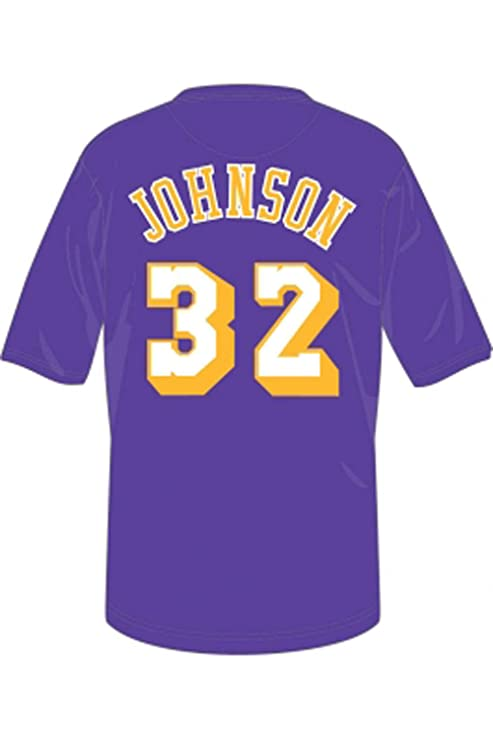 bd8bd712b Mitchell   Ness Magic Johnson Los Angeles Lakers Hardwood Classics Name   Number  T Shirt (