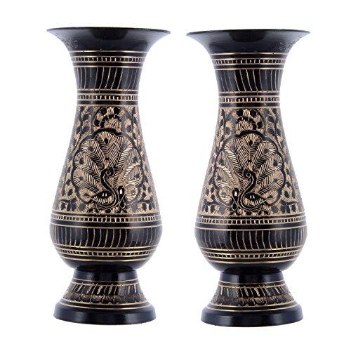 Craft Trade Brass Flower Pot Vase Set of 2 Decorative Printed Showpiece for Home Décor/Lounge/Dining Area/Living - Brass Vase Flower
