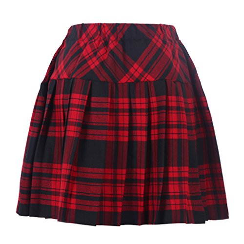 Genetic Los Angeles Women`s Plaid Elasticated Pleated Skirt(XL, Red Black)