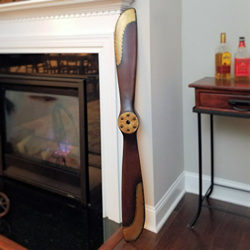Brass Propeller - Engraved 50 Inch 1917 Mahogany & Brass Wood Propeller
