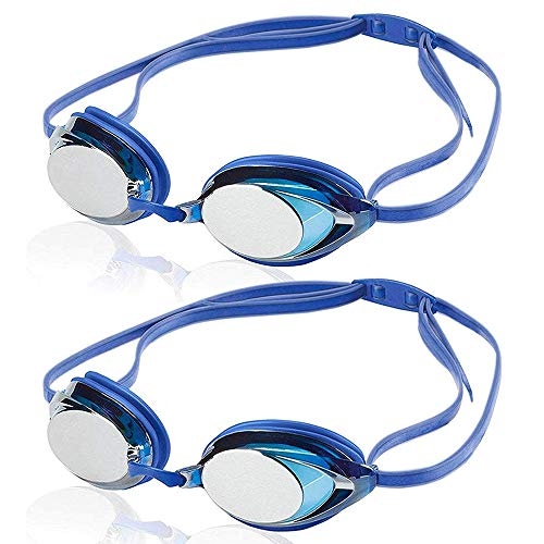 Uniq Fliker Swim Goggles, Professional Competitive Swim Racing Goggles for Speedo Swim Competiton with Multi-Color & Shape (Blue 2 Pack)