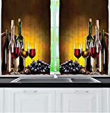 wine and grape kitchen curtains - Ambesonne Tuscany Wine Land Decor Collection, Grapes Wines Bottles Glasses Picture Printed Artwork, Window Treatments for Kitchen Dining Room Curtains 2 Panels Set, 55