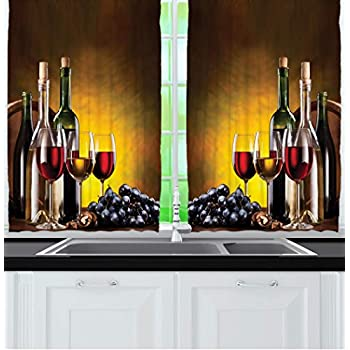 Ambesonne Tuscany Wine Land Decor Collection, Grapes Wines Bottles Glasses  Picture Printed Artwork, Window Treatments for Kitchen Dining Room Curtains  ...