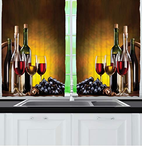 - Ambesonne Tuscany Wine Land Decor Collection, Grapes Wines Bottles Glasses Picture Printed Artwork, Window Treatments for Kitchen Dining Room Curtains 2 Panels Set, 55