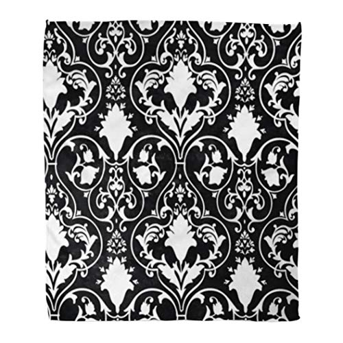 Golee Throw Blanket Fleur Antique Scroll Lis Black White Damask Pattern Abstract Baroque 50x60 Inches Warm Fuzzy Soft Blanket for Bed Sofa